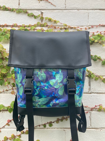 Backpack/ Shoulder Bag - Green Blue Leaves