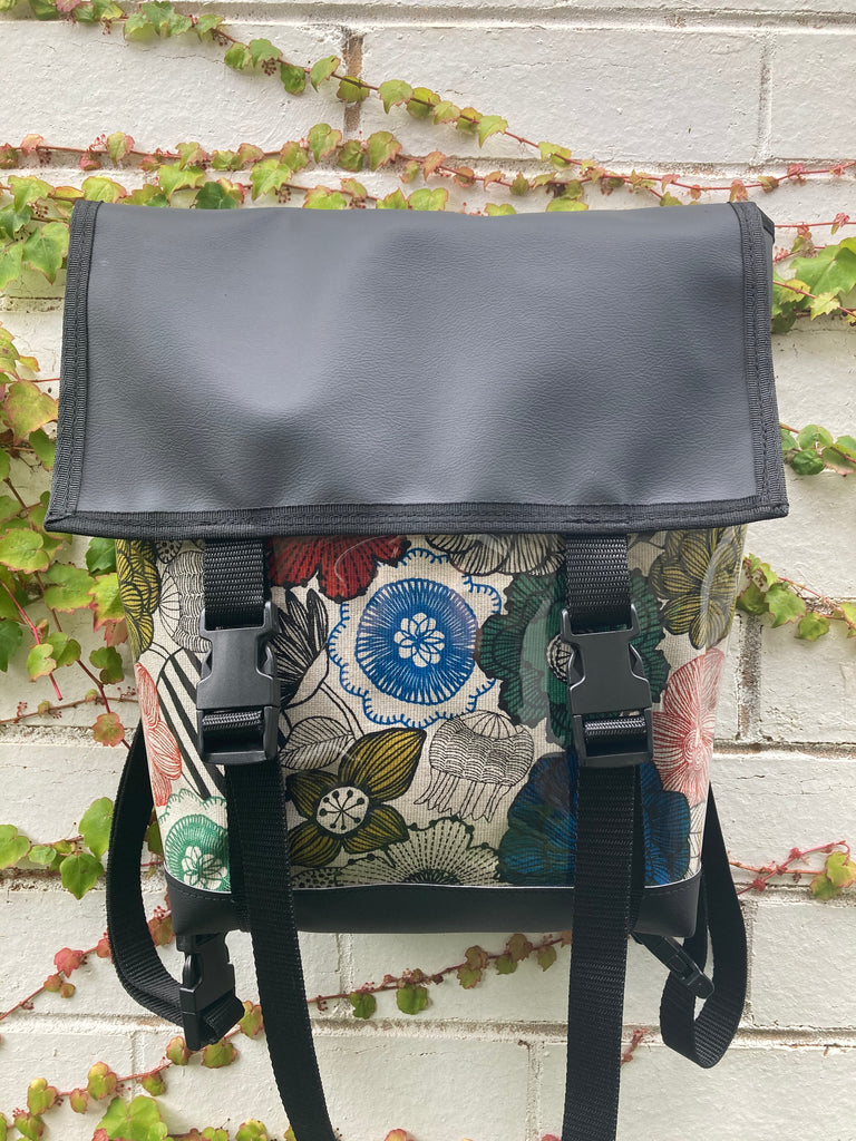 Backpack/ Shoulder Bag - Floral Illustration