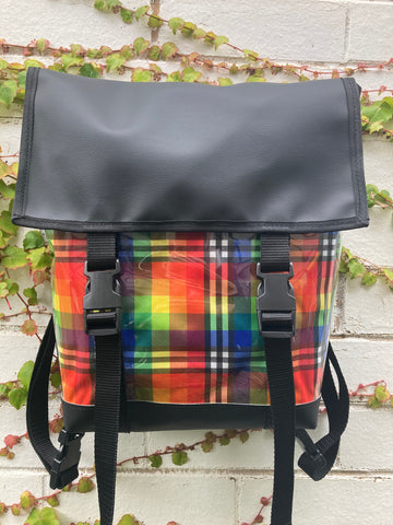 Backpack/ Shoulder Bag -  Rainbow Plaid