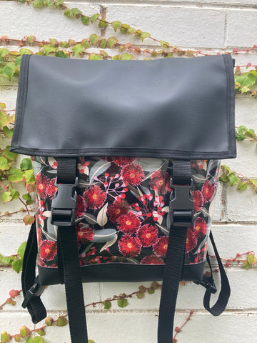 Backpack/ Shoulder Bag -  Red Flowering Gumtree