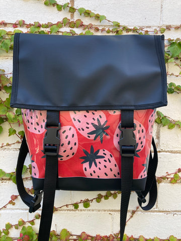 Backpack/ Shoulder Bag - Strawberries