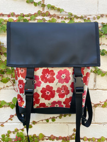 Backpack/ Shoulder Bag - Red Poppies
