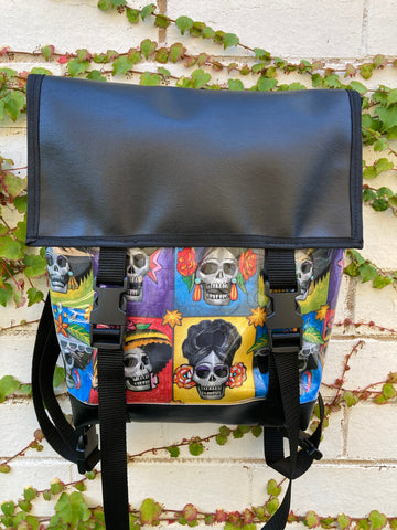 Backpack/ Shoulder Bag - Day Of The Dead Colourful