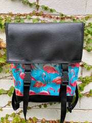 Backpack/ Shoulder Bag - Flamingos