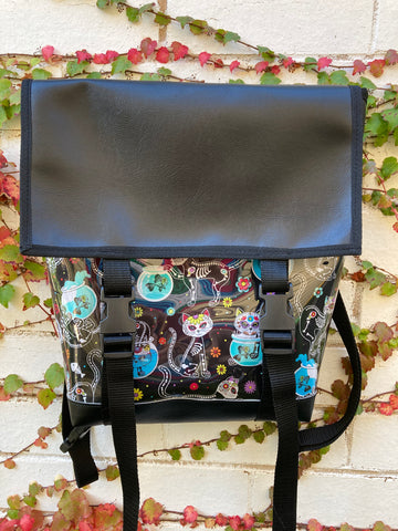 Backpack/ Shoulder Bag - Sugar Skull Cats