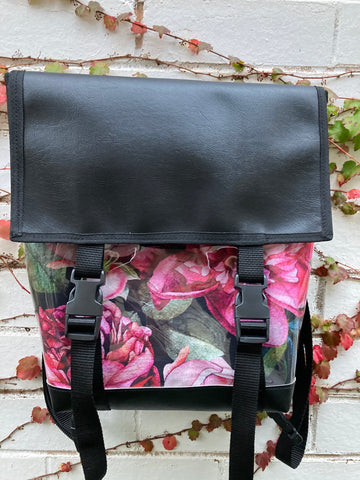 Backpack/ Shoulder Bag - Big Rose