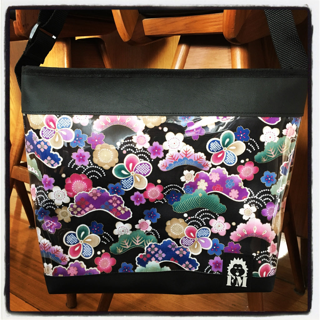 Zip-Up Tote Bag - Purple Japanese
