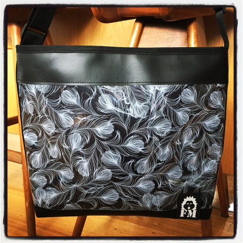 Zip-Up Tote Bag -  Feathered