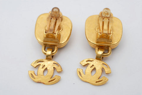 Chanel Chanel Coco Mark Color Stone Swing Gold Earrings 97A Gold P0563
