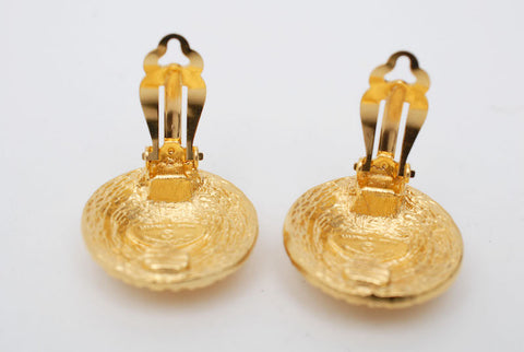 Chanel Chanel Coco Mark Round Earrings Gold P0685