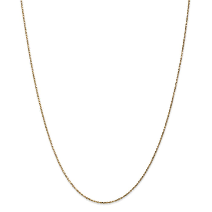 Million Charms 14k Yellow Gold, Necklace Chain, 1.15mm Machine-made Rope Chain, Chain Length: 18 inches