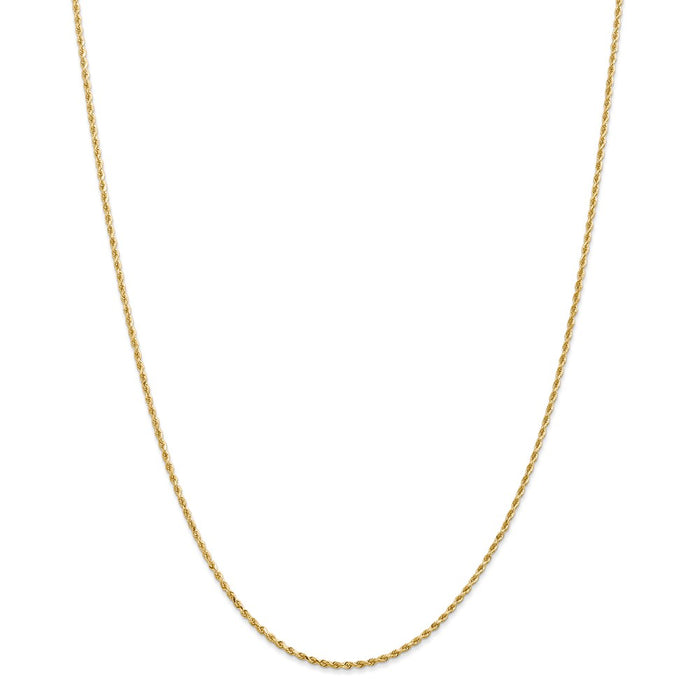 Million Charms 14k Yellow Gold, Necklace Chain, 1.50mm Diamond-Cut Rope with Lobster Clasp Chain, Chain Length: 22 inches