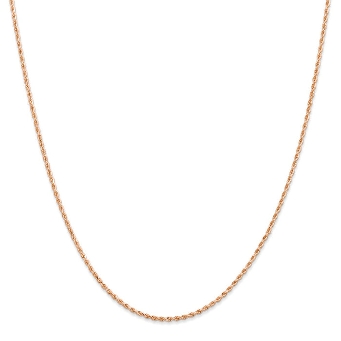Million Charms 14k Rose Gold, Necklace Chain, 1.50mm Diamond-Cut Rope with Lobster Clasp Chain, Chain Length: 18 inches