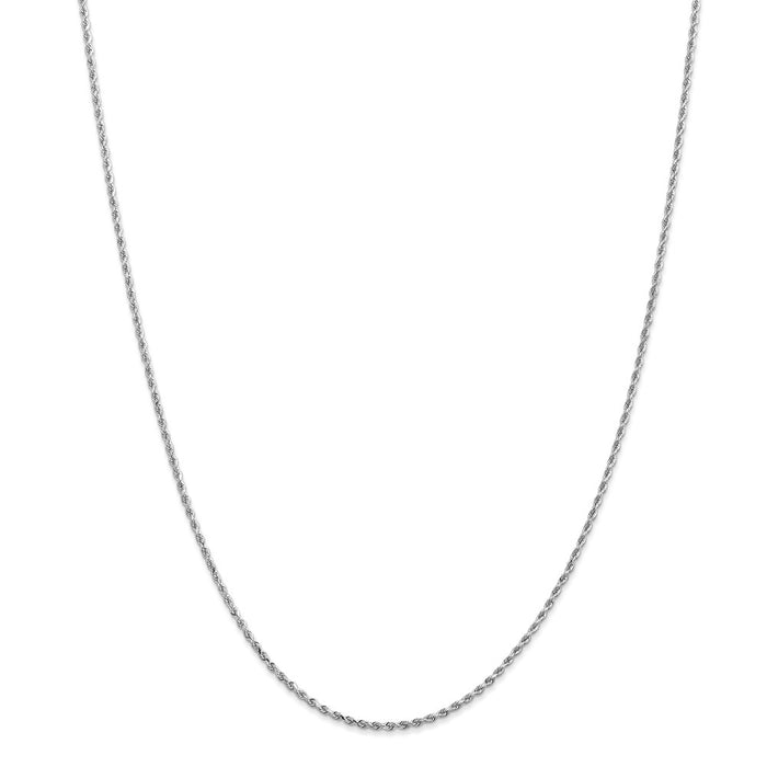 Million Charms 14k White Gold, Necklace Chain, 1.5mm Diamond-Cut Rope Chain, Chain Length: 26 inches