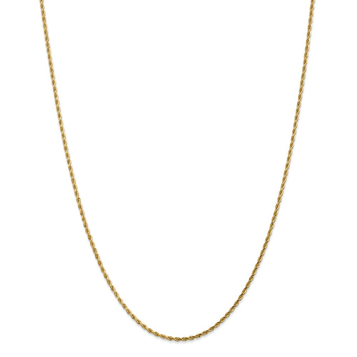 Million Charms 14k Yellow Gold, Necklace Chain, 1.75mm Diamond-Cut Rope with Lobster Clasp Chain, Chain Length: 36 inches