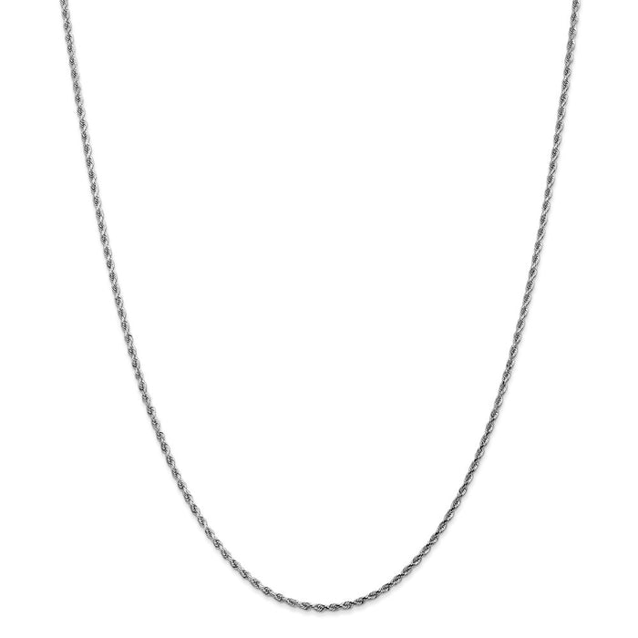 Million Charms 14k White Gold, Necklace Chain, 1.75mm Diamond-Cut Rope Chain, Chain Length: 26 inches