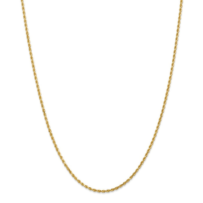 Million Charms 14k Yellow Gold, Necklace Chain, 2mm Diamond-Cut Rope with Lobster Clasp Chain, Chain Length: 36 inches