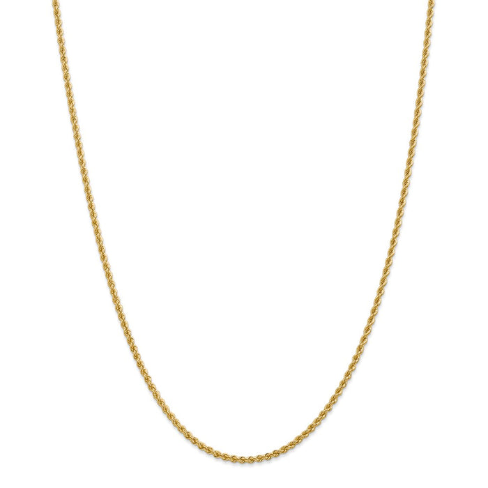 Million Charms 14k Yellow Gold, Necklace Chain, 2.25mm Regular Rope Chain, Chain Length: 28 inches