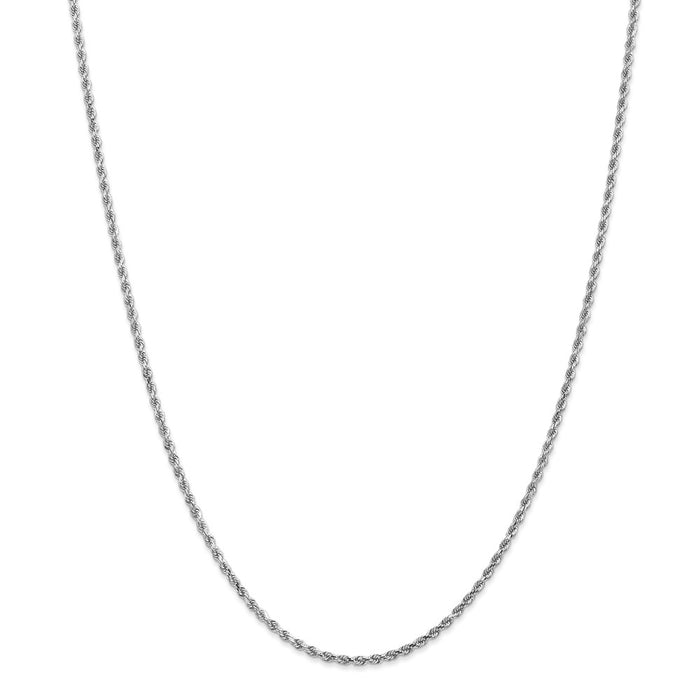 Million Charms 14k White Gold, Necklace Chain, 2mm Diamond-Cut Rope Chain, Chain Length: 26 inches