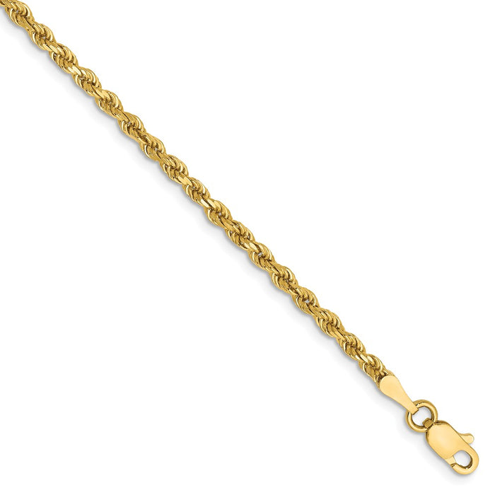 Million Charms 14k Yellow Gold 2.25mm Diamond-Cut Rope with Lobster Clasp Chain, Chain Length: 9 inches