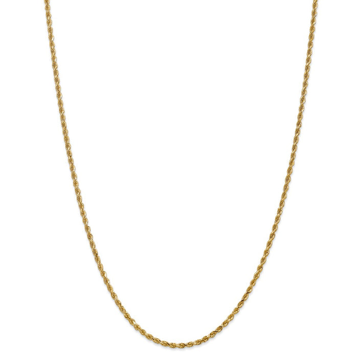 Million Charms 14k Yellow Gold, Necklace Chain, 2.25mm Diamond-Cut Rope with Lobster Clasp Chain, Chain Length: 28 inches