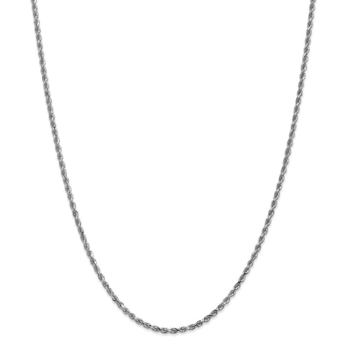 Million Charms 14k White Gold, Necklace Chain, 2.25mm Diamond-Cut Rope Chain, Chain Length: 26 inches