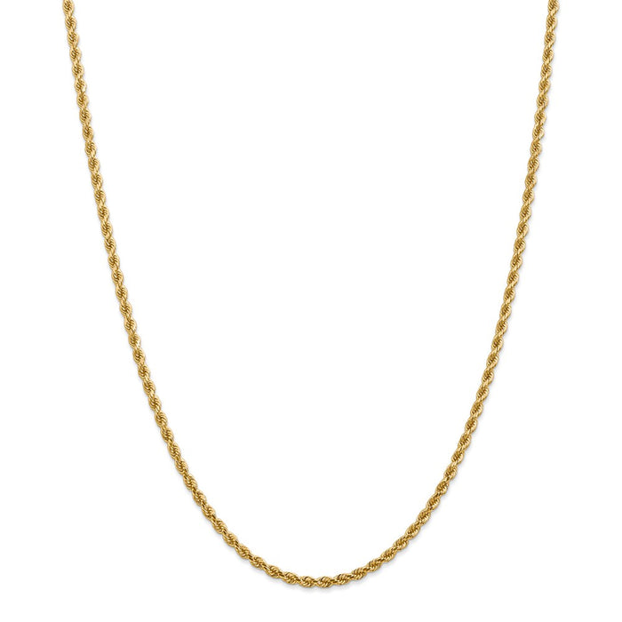 Million Charms 14k Yellow Gold, Necklace Chain, 2.75mm Diamond-cut Rope with Lobster Clasp Chain, Chain Length: 28 inches