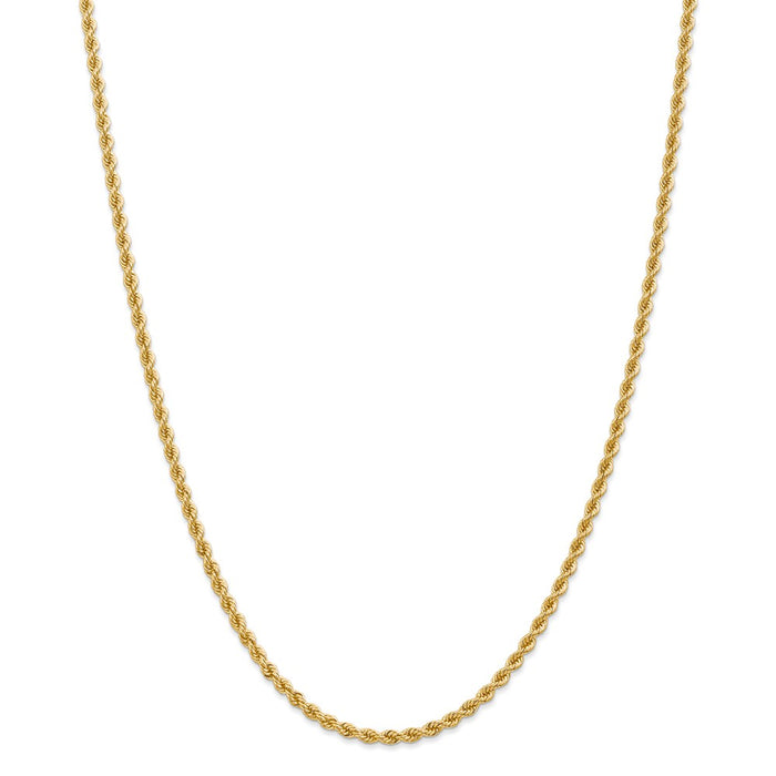 Million Charms 14k Yellow Gold, Necklace Chain, 2.75mm Regular Rope Chain, Chain Length: 30 inches