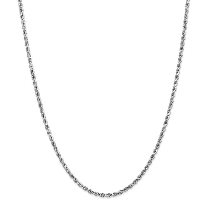 Million Charms 14k White Gold, Necklace Chain, 2.75mm Diamond-Cut Rope Chain, Chain Length: 28 inches