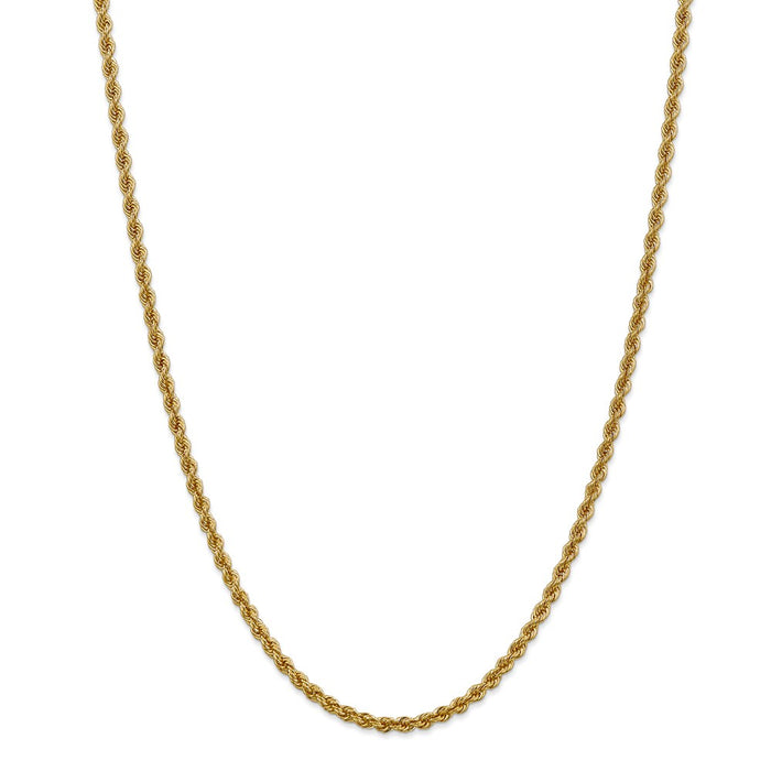 Million Charms 14k Yellow Gold, Necklace Chain, 3mm Regular Rope Chain, Chain Length: 28 inches