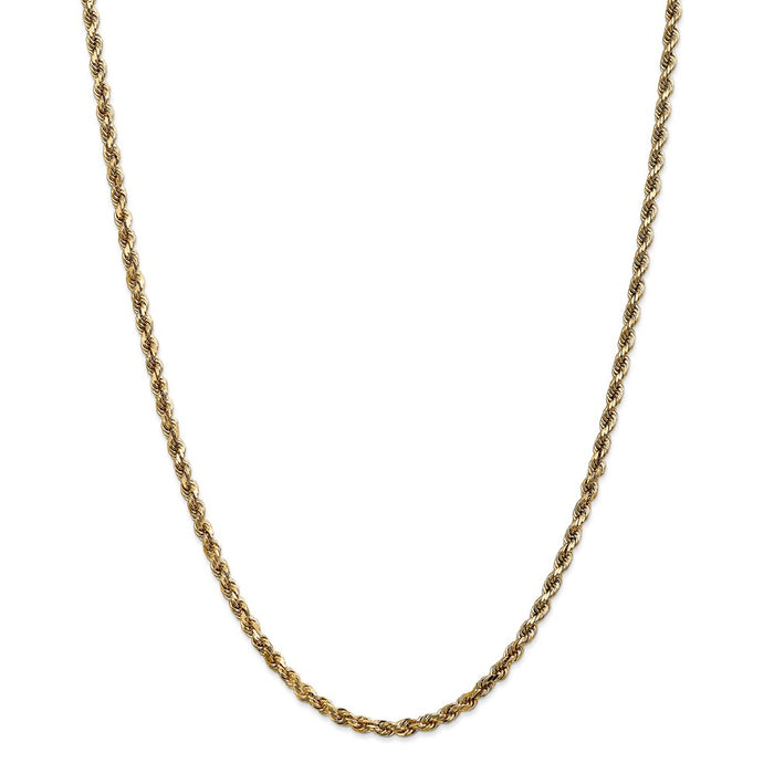 Million Charms 14k Yellow Gold, Necklace Chain, 3.5mm Diamond-Cut Rope with Lobster Clasp Chain, Chain Length: 26 inches