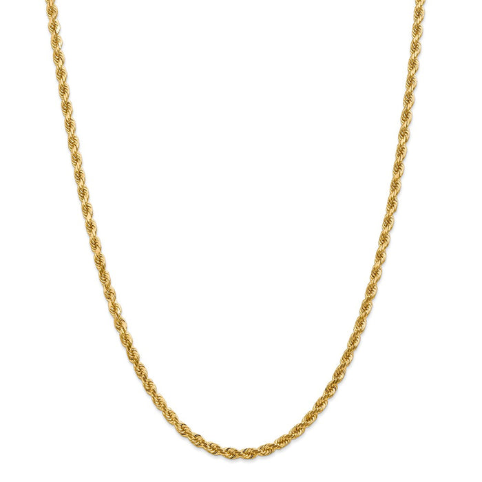 Million Charms 14k Yellow Gold, Necklace Chain, 4mm Diamond-Cut Rope with Lobster Clasp Chain, Chain Length: 28 inches