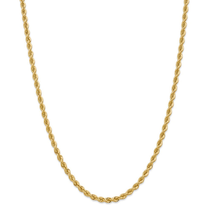 Million Charms 14k Yellow Gold, Necklace Chain, 4mm Regular Rope Chain, Chain Length: 26 inches