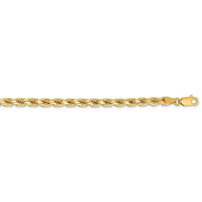 Million Charms 14k Yellow Gold, Necklace Chain, 4.25mm Diamond Cut Rope Chain, Chain Length: 28 inches