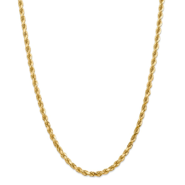 Million Charms 14k Yellow Gold, Necklace Chain, 4.5mm Diamond-Cut Rope with Lobster Clasp Chain, Chain Length: 28 inches