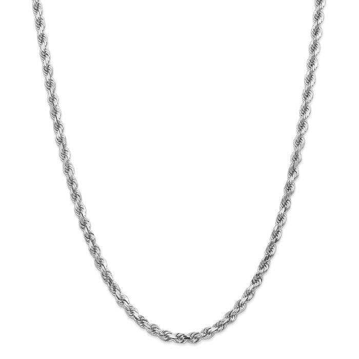 Million Charms 14k White Gold, Necklace Chain, 4.5mm Diamond-Cut Rope Chain, Chain Length: 28 inches