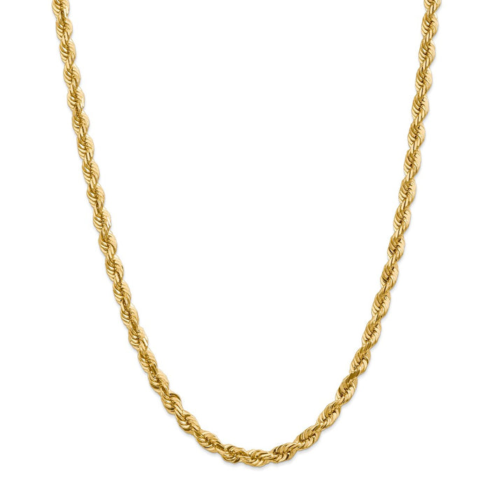 Million Charms 14k Yellow Gold, Necklace Chain, 5.5mm Diamond-Cut Rope with Lobster Clasp Chain, Chain Length: 36 inches