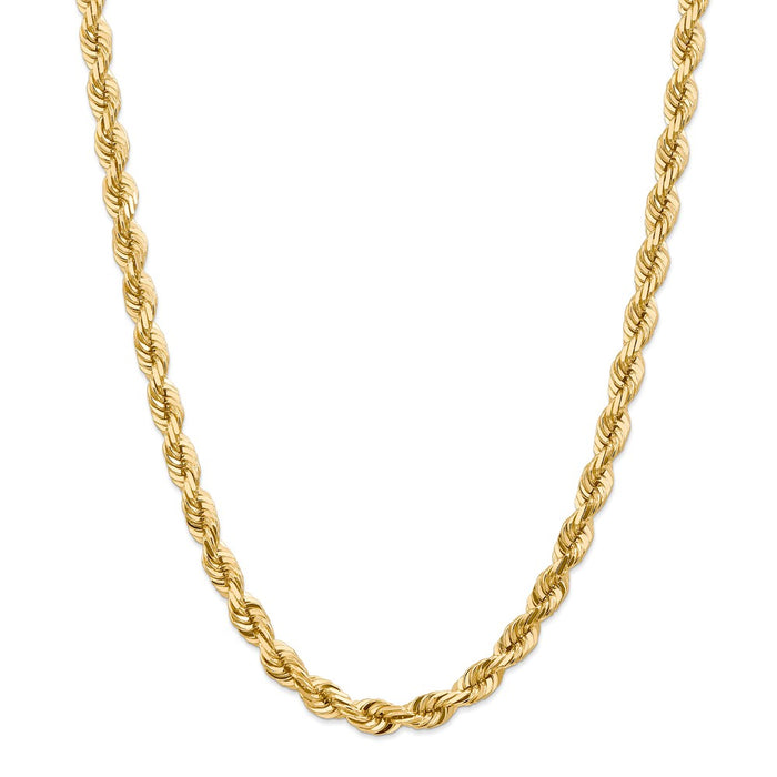 Million Charms 14k Yellow Gold, Necklace Chain, 7mm Diamond-Cut Rope Chain, Chain Length: 22 inches