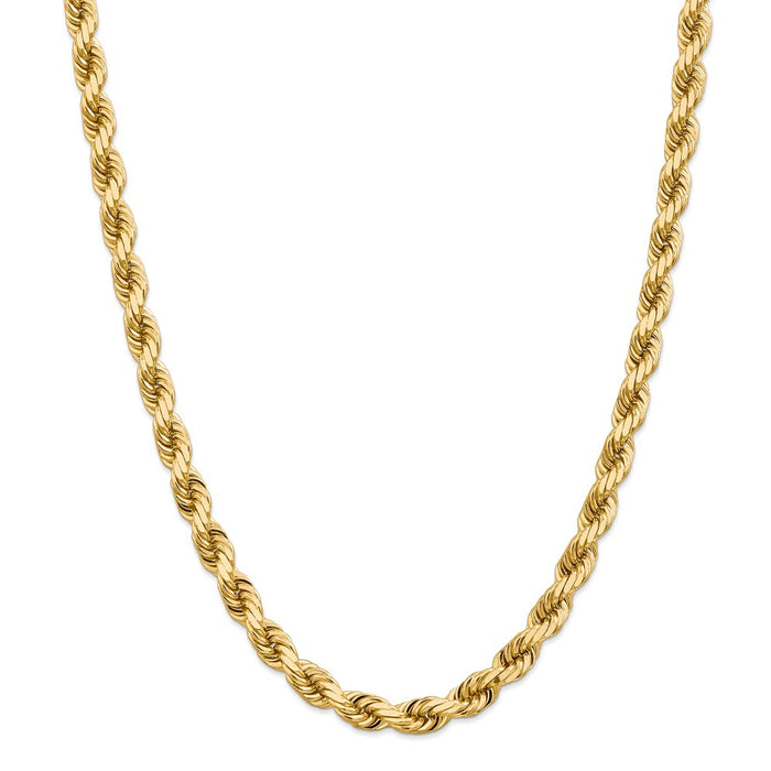 Million Charms 14k Yellow Gold, Necklace Chain, 8mm Diamond-Cut Rope Chain, Chain Length: 20 inches