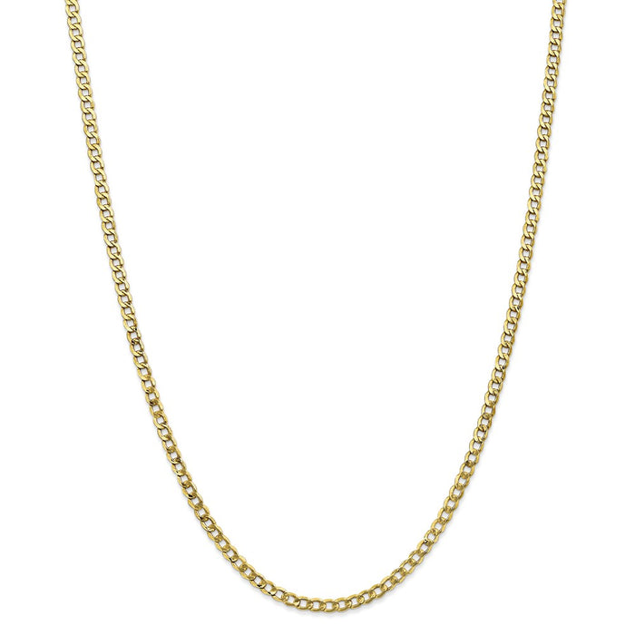 Million Charms 10k Yellow Gold, Necklace Chain, 3.35mm Semi-Solid Curb Link Chain, Chain Length: 20 inches