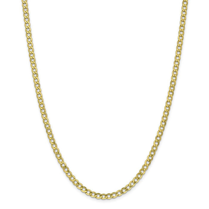 Million Charms 10k Yellow Gold, Necklace Chain, 4.3mm Semi-Solid Curb Link Chain, Chain Length: 24 inches