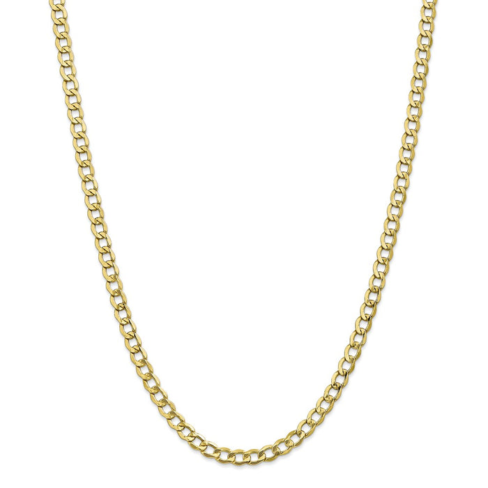 Million Charms 10k Yellow Gold, Necklace Chain, 5.25mm Semi-Solid Curb Link Chain, Chain Length: 26 inches