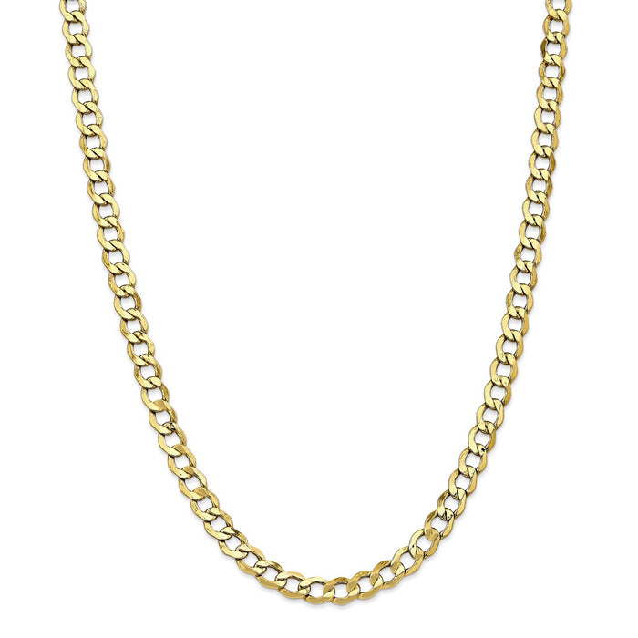 Million Charms 10k Yellow Gold, Necklace Chain, 6.5mm Semi-Solid Curb Link Chain, Chain Length: 26 inches
