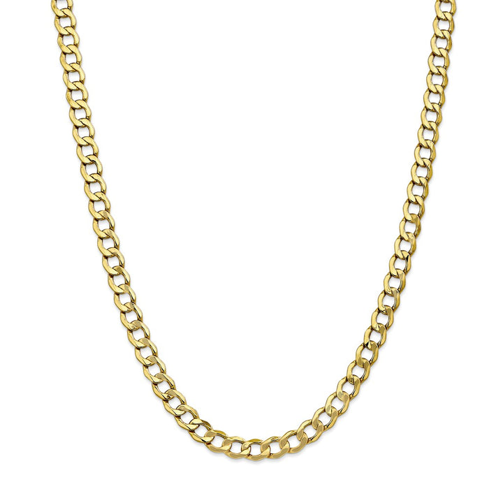 Million Charms 10k Yellow Gold, Necklace Chain, 7.0mm Semi-Solid Curb Link Chain, Chain Length: 26 inches