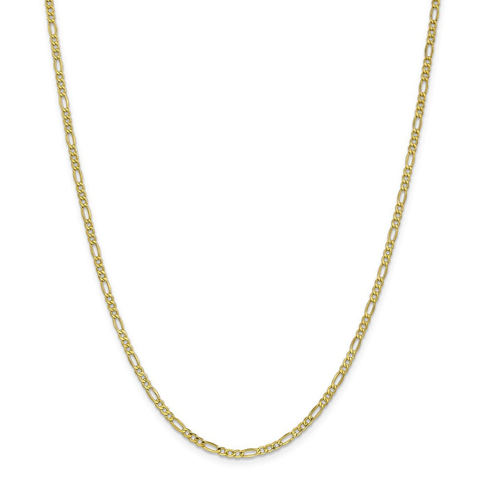 Million Charms 10k Yellow Gold, Necklace Chain, 2.5mm Semi-Solid Figaro Chain, Chain Length: 20 inches