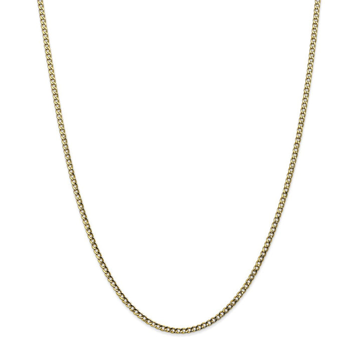 Million Charms 10k Yellow Gold 2.5mm Semi-Solid Curb Link Chain, Chain Length: 10 inches