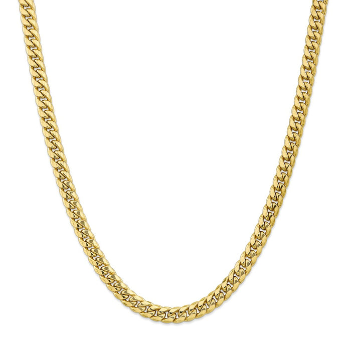 Million Charms 10k Yellow Gold, Necklace Chain, 7.3mm Semi-Solid Miami Cuban Chain, Chain Length: 22 inches