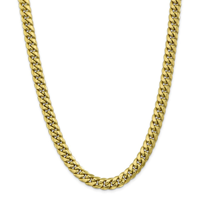 Million Charms 10k Yellow Gold, Necklace Chain, 9.3mm Semi-Solid Miami Cuban Chain, Chain Length: 24 inches