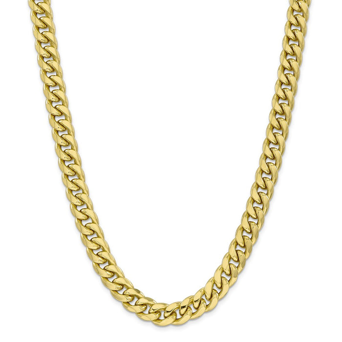 Million Charms 10k Yellow Gold, Necklace Chain, 11mm Semi-Solid Miami Cuban Chain, Chain Length: 24 inches
