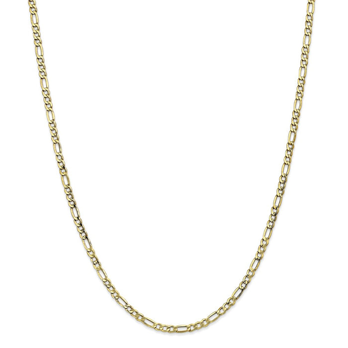 Million Charms 10k Yellow Gold, Necklace Chain, 3.5mm Semi-Solid Figaro Chain, Chain Length: 22 inches
